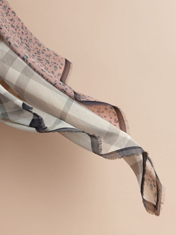 Lightweight Floral and Check Print Cotton Silk Scarf in Steel Blue - Women | Burberry - cell image 3
