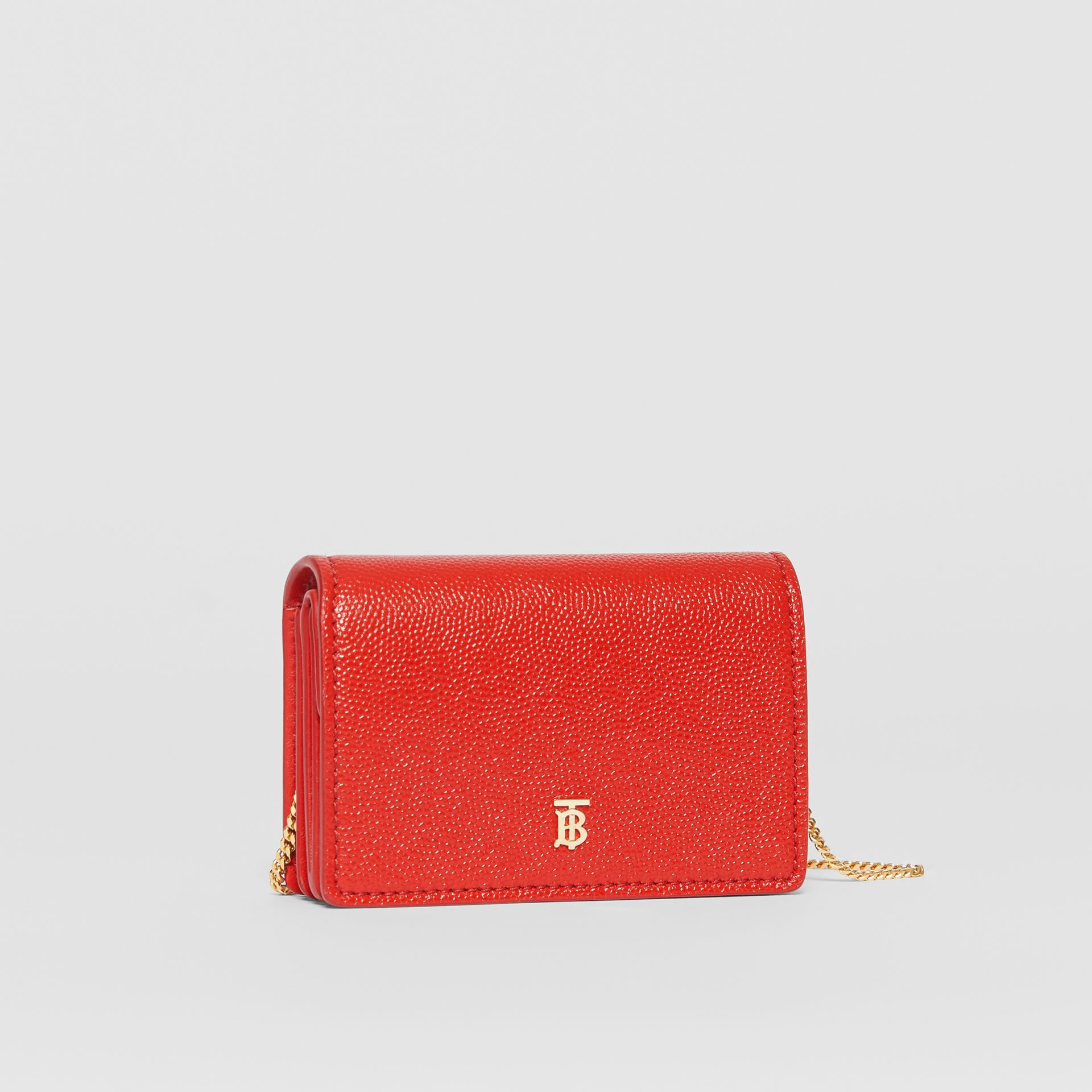 Grainy Leather Card Case with Detachable Strap in Bright Red - Women | Burberry - gallery image 6