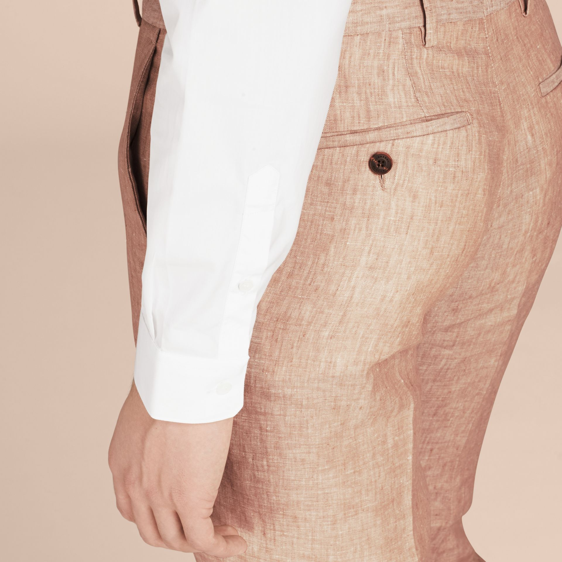 Pale stone Modern Fit Linen Trousers - gallery image 5