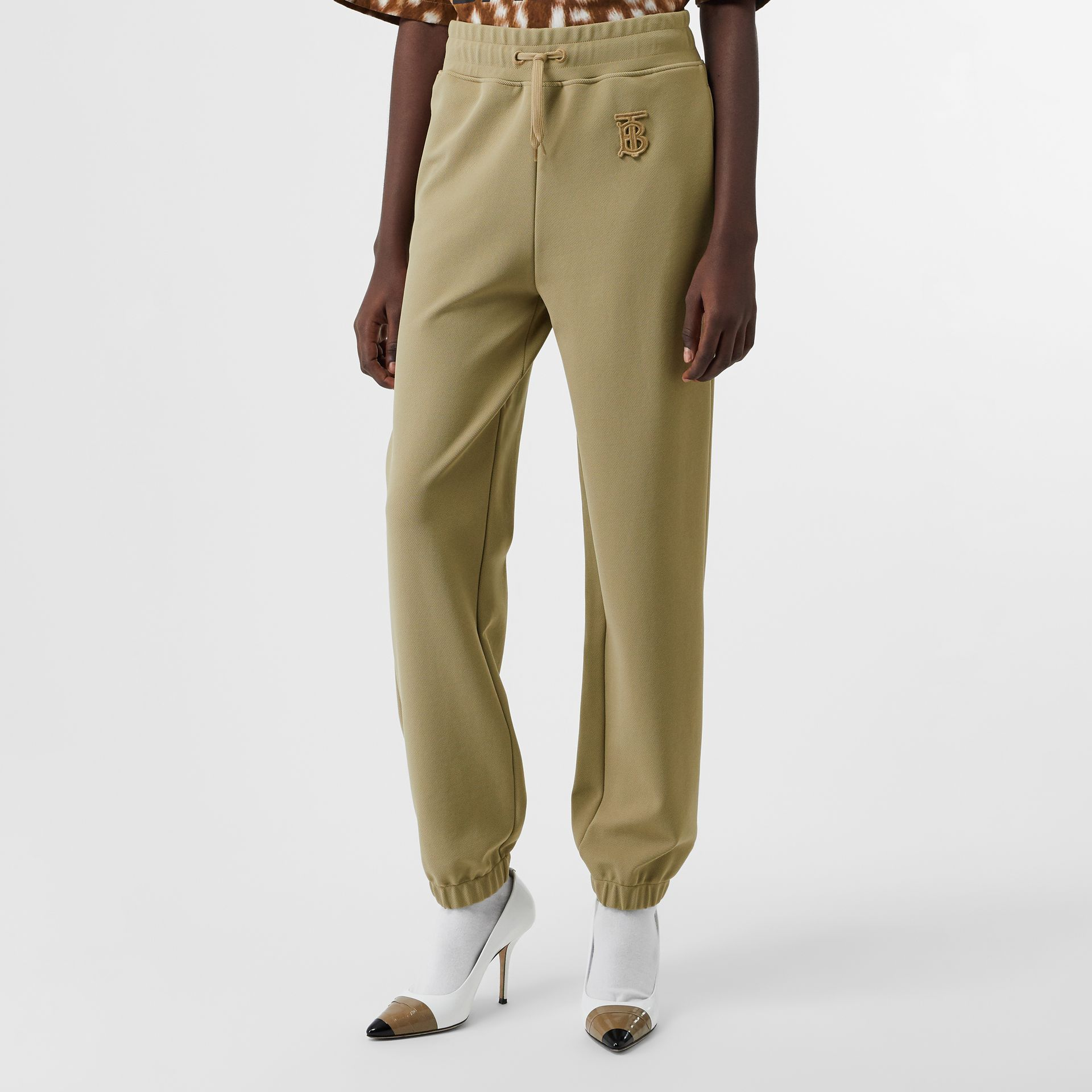 Monogram Motif Technical Trackpants in Camel - Women | Burberry - gallery image 4