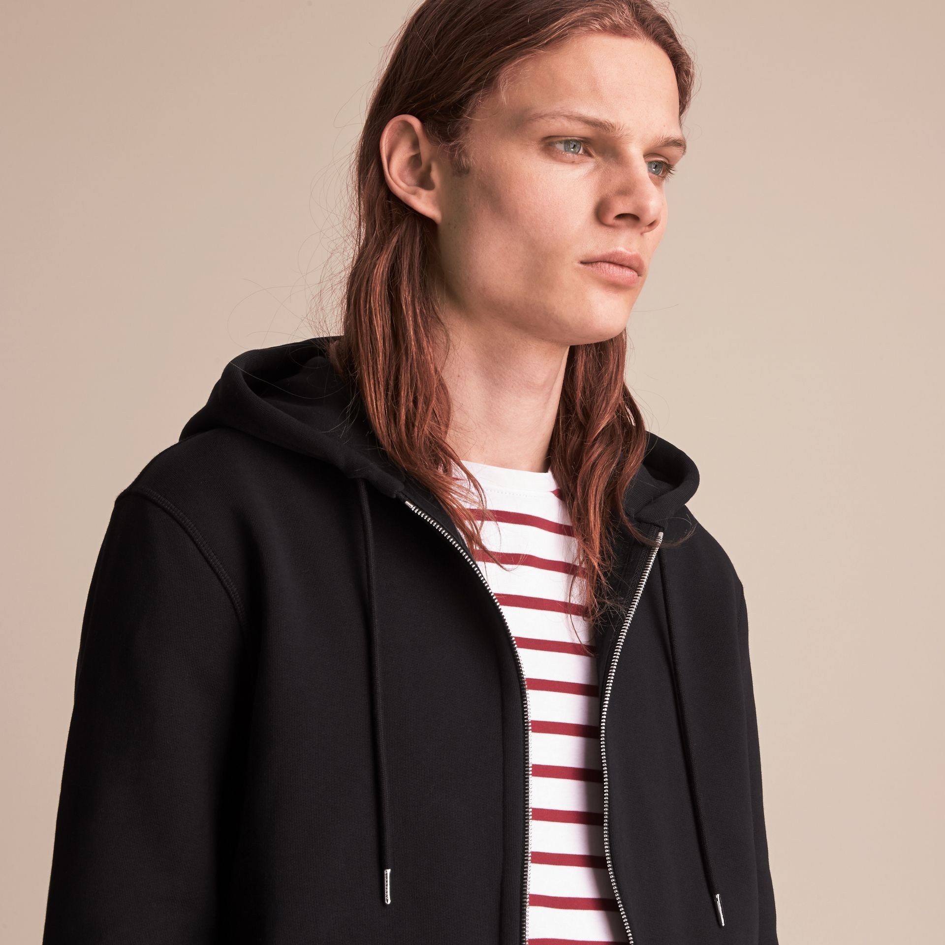 Pallas Helmet Cotton Blend Jersey Hooded Top in Black - Men | Burberry - gallery image 5