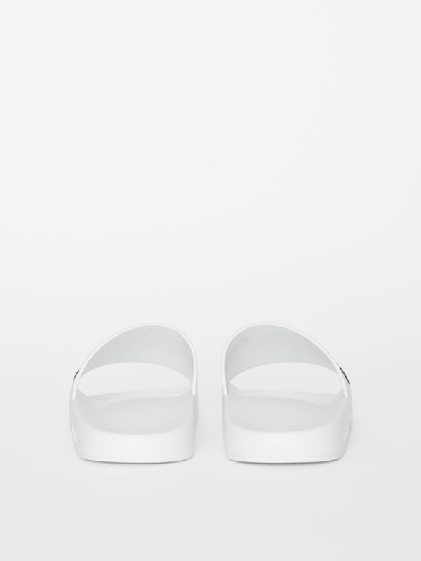 Kingdom Motif Slides in Optic White/black - Men | Burberry - cell image 3