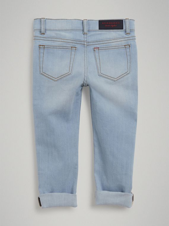 Relaxed Fit Stretch Jeans in Light Blue - Boy | Burberry - cell image 3