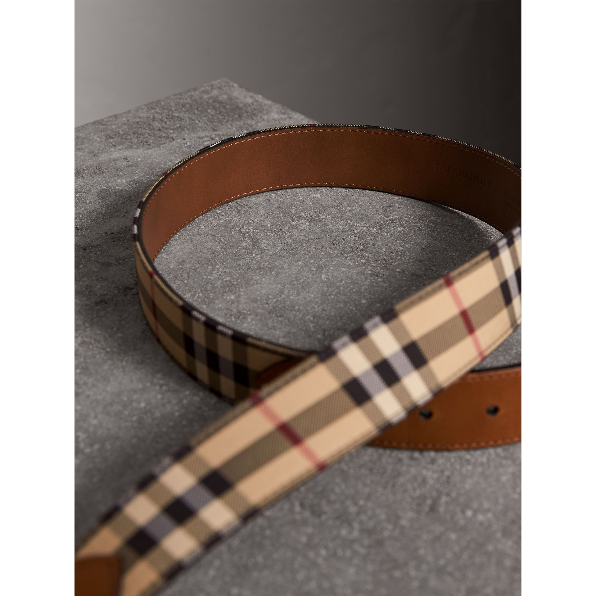 Horseferry Check and Leather Belt in Tan - Men | Burberry United Kingdom - gallery image 3