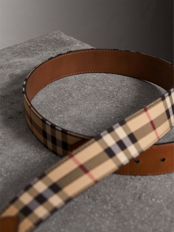 Horseferry Check and Leather Belt in Tan - Men | Burberry Australia - cell image 3