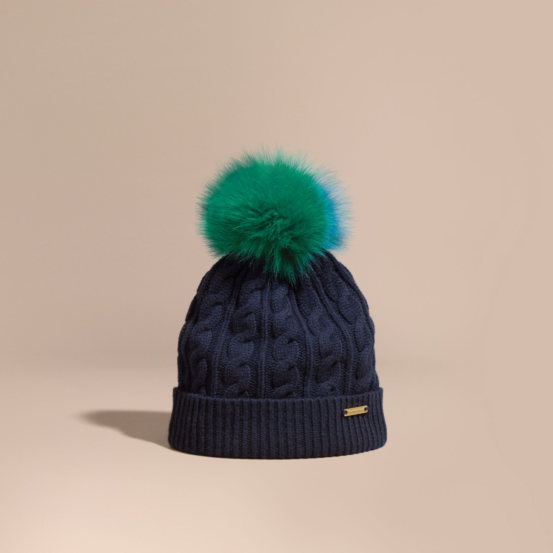 Navy Wool Cashmere Beanie with Fur Pom-Pom Navy - gallery image 1