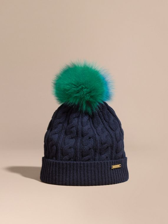 Wool Cashmere Beanie with Fur Pom-Pom Navy