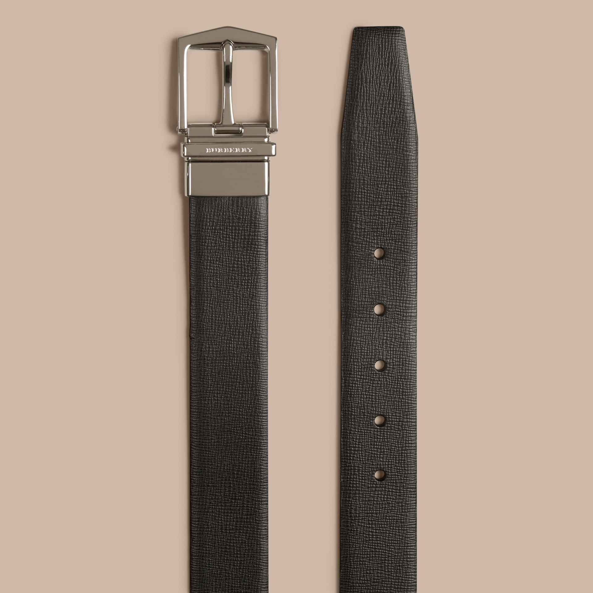 Black/chocolate Reversible London Leather Belt Black/chocolate - gallery image 2