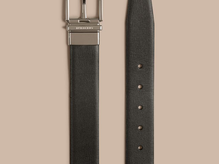 Reversible London Leather Belt in Black/chocolate - Men | Burberry - cell image 1