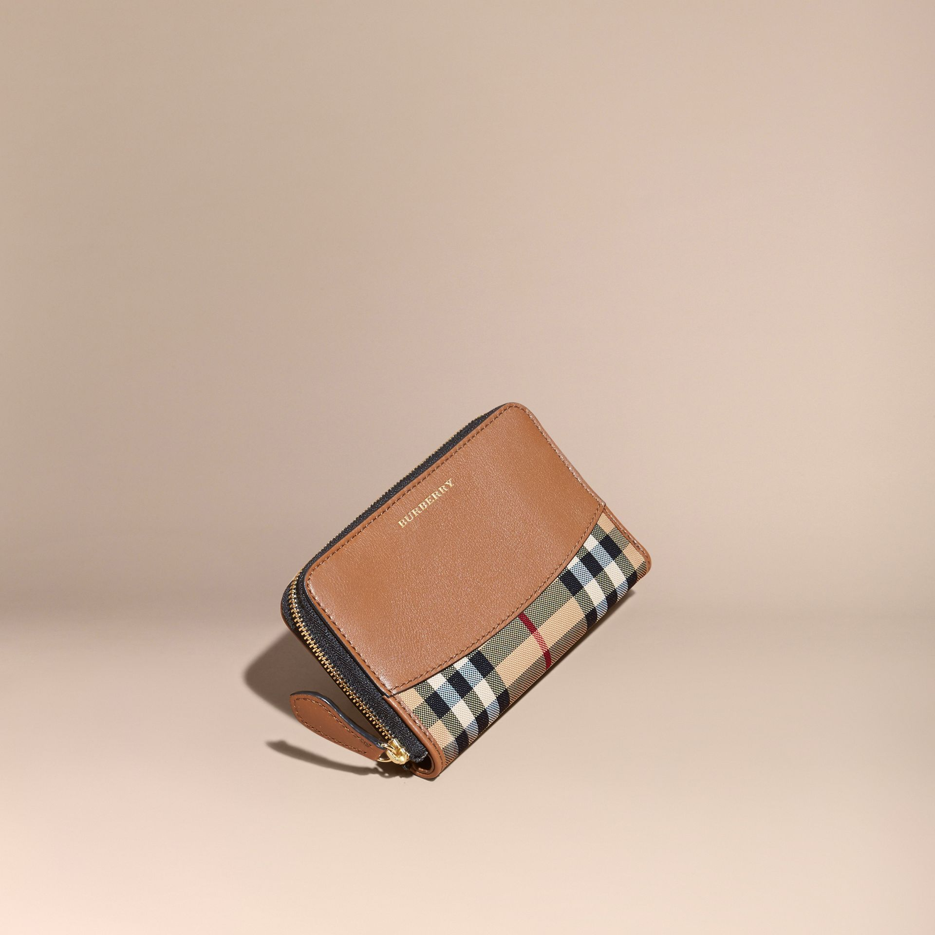 Horseferry Check and Leather Ziparound Wallet Tan - gallery image 1