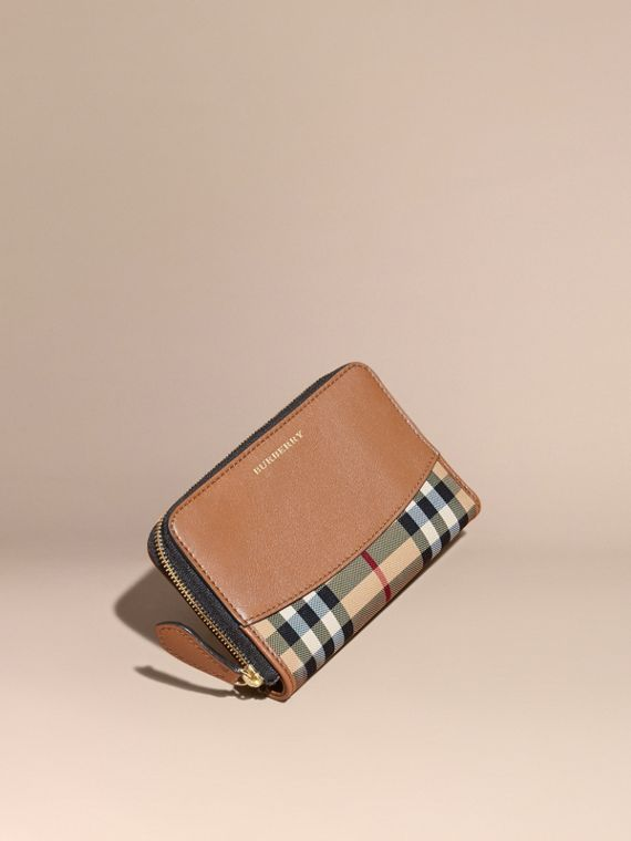 Horseferry Check and Leather Ziparound Wallet Tan