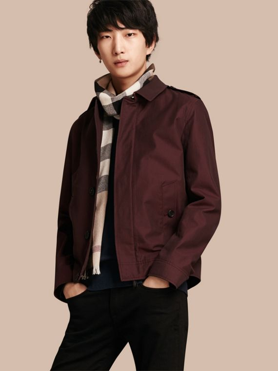 Cotton Gabardine Jacket Mahogany Red
