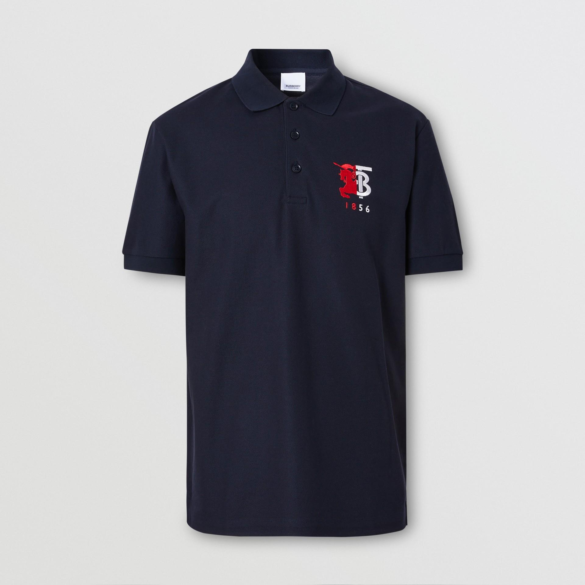 Contrast Logo Graphic Cotton Piqué Polo Shirt in Navy - Men | Burberry Hong Kong S.A.R - gallery image 3