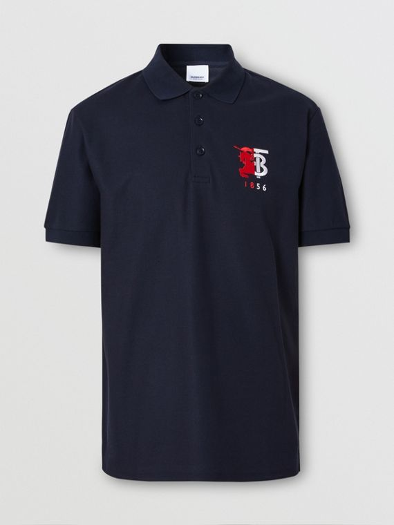 Contrast Logo Graphic Cotton Piqué Polo Shirt in Navy