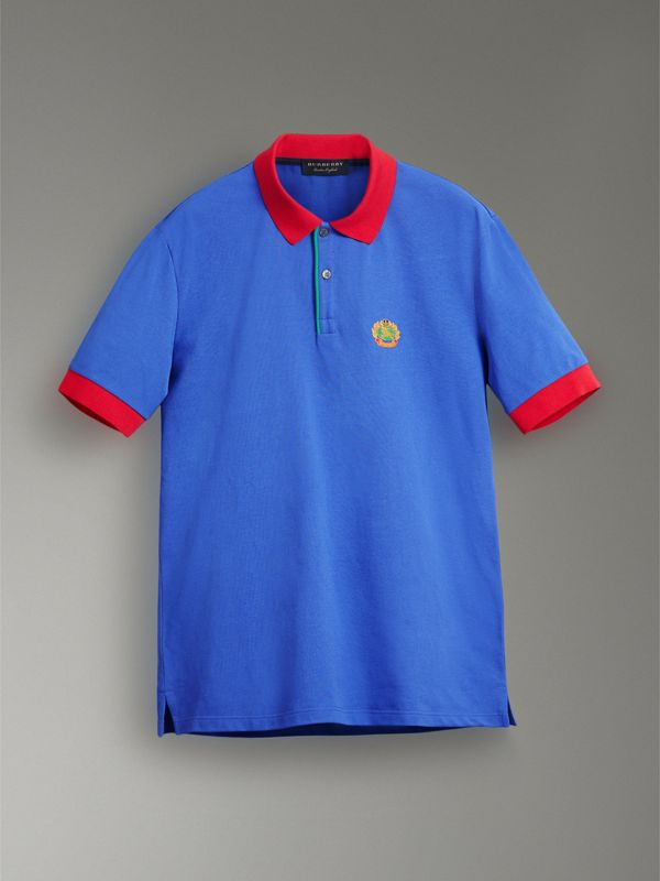 Reissued Cotton Polo Shirt in Cornflower Blue - Women | Burberry - cell image 3