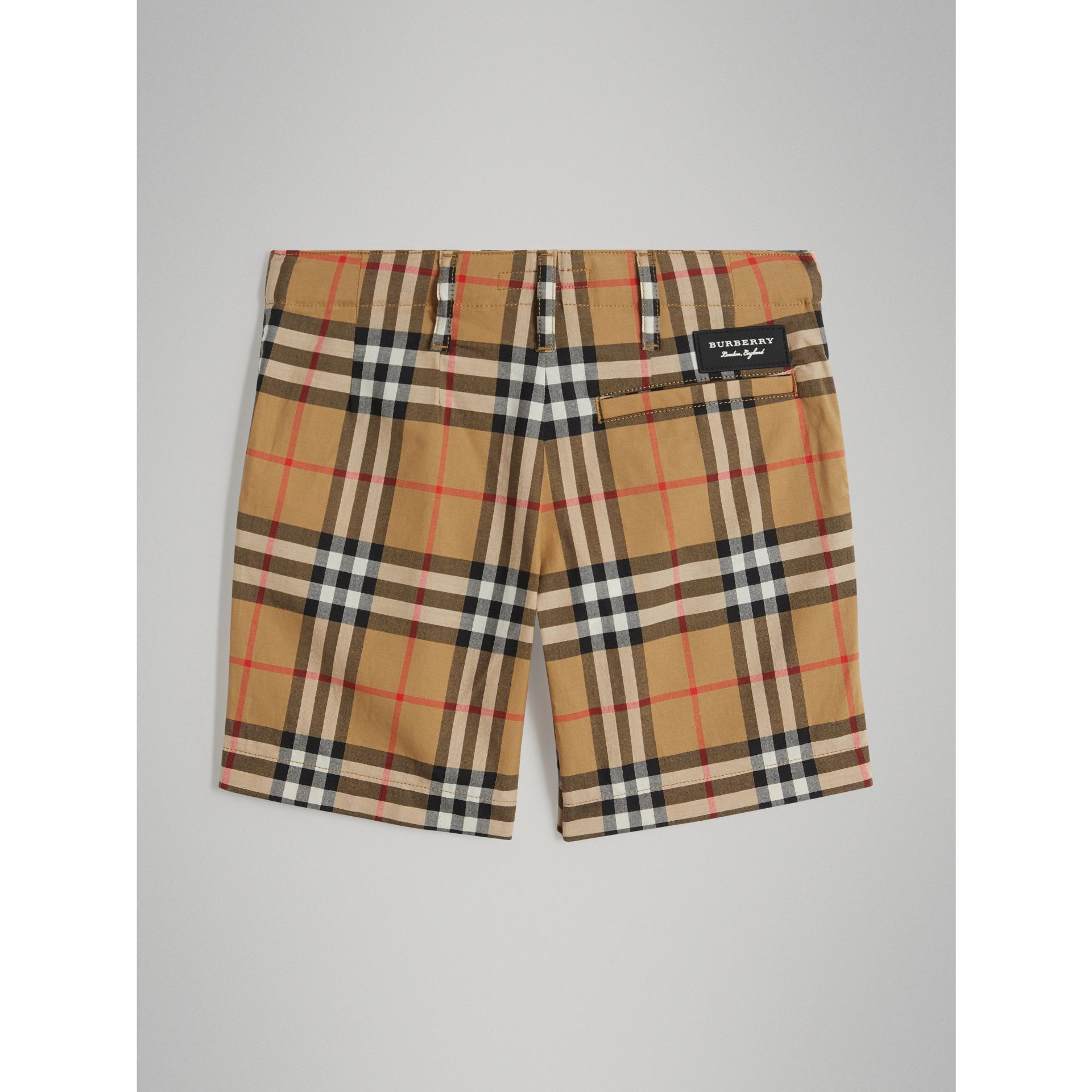 Vintage Check Cotton Tailored Shorts in Antique Yellow - Boy | Burberry - gallery image 3