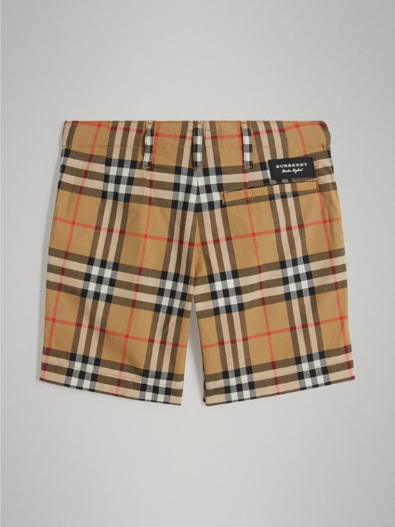 Vintage Check Cotton Tailored Shorts in Antique Yellow - Boy | Burberry - cell image 3