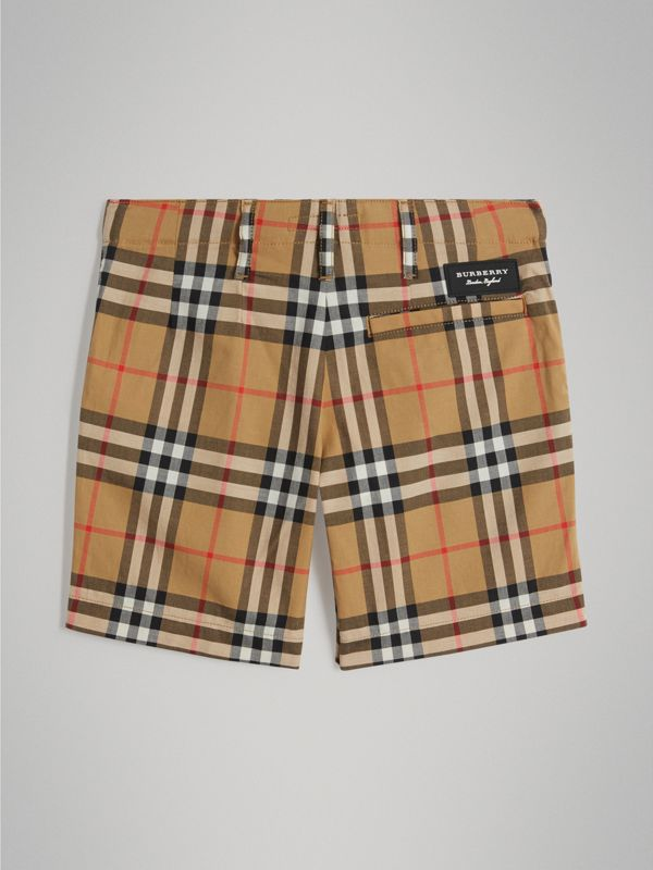 Vintage Check Cotton Tailored Shorts in Antique Yellow - Boy | Burberry United Kingdom - cell image 3