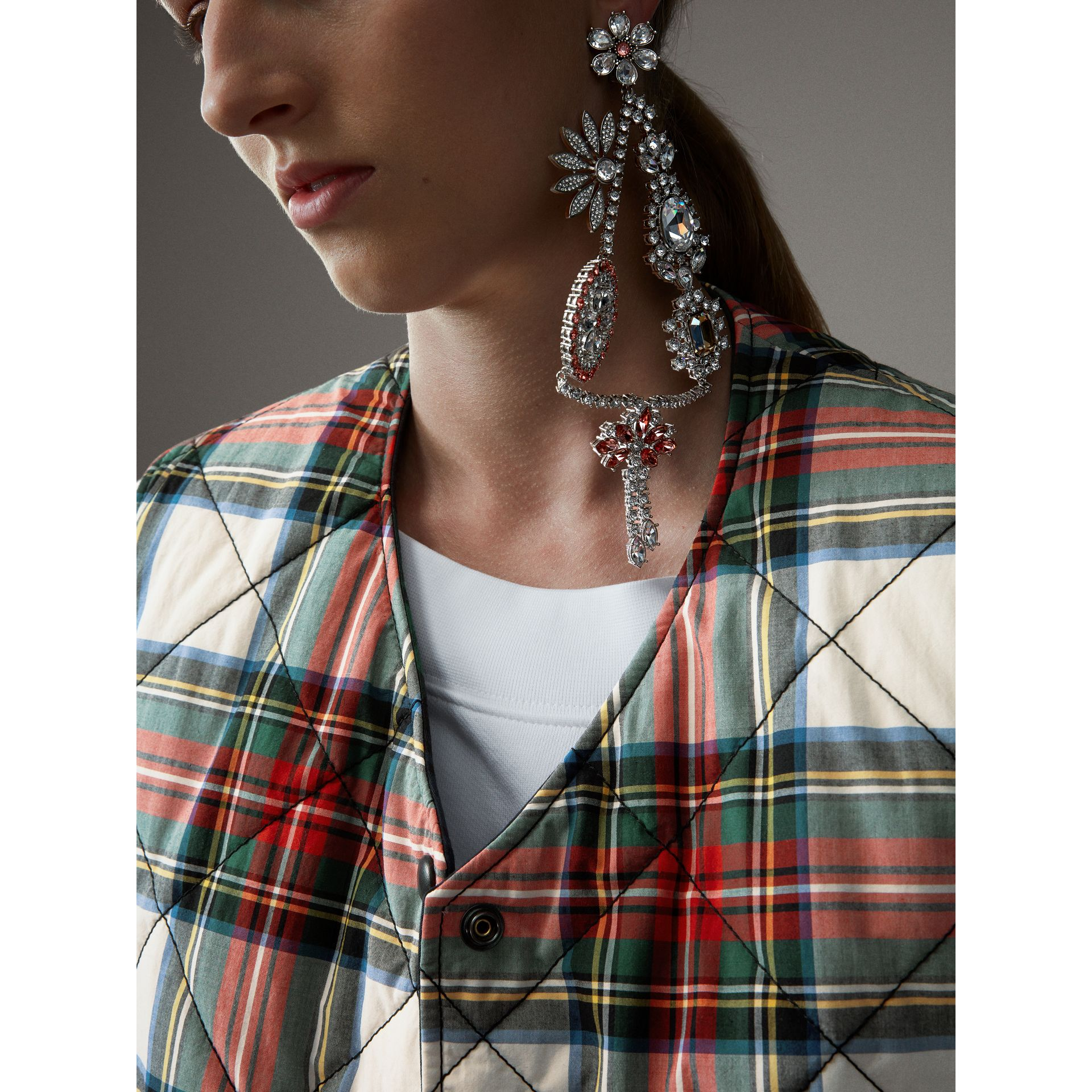 Reversible Tartan Quilted Cotton Gilet in Natural White - Women | Burberry - gallery image 2