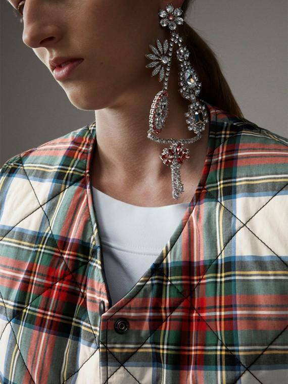 Colete dupla face de algodão em xadrez tartan com textura acolchoada (Branco Natural)