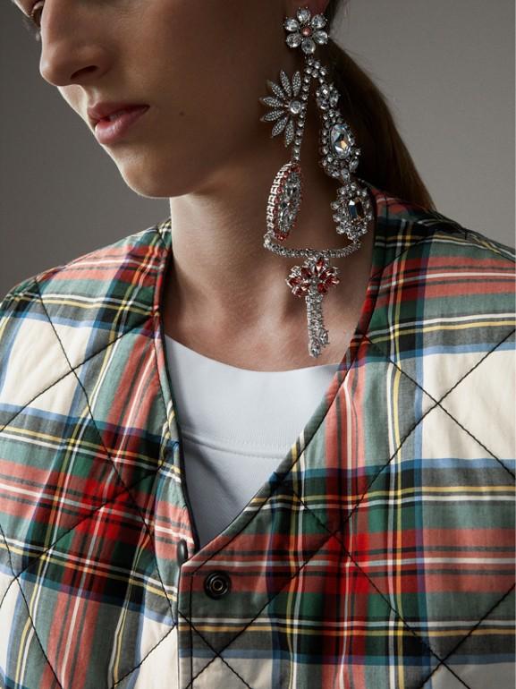 Colete dupla face de algodão em xadrez tartan com textura acolchoada (Branco Natural) - Mulheres | Burberry - cell image 1