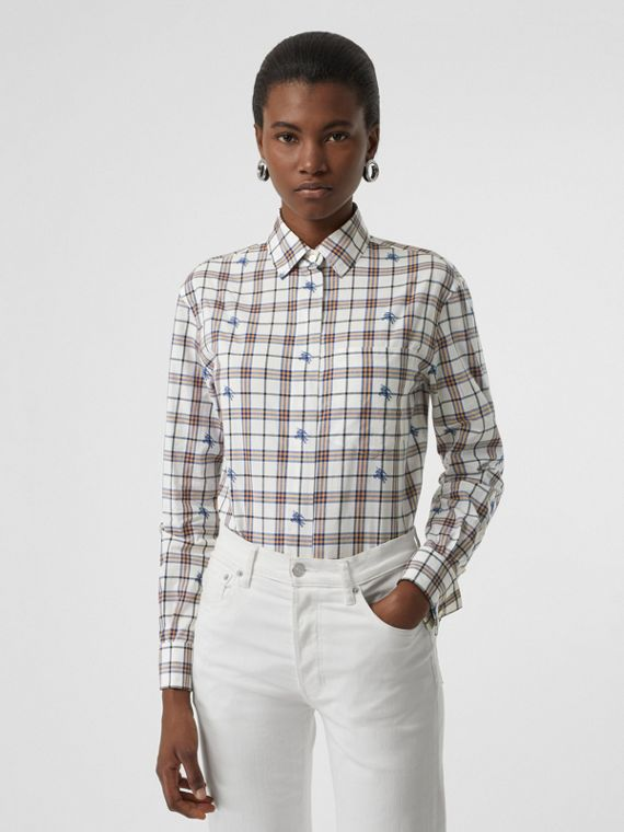 Fil Coupé Check Cotton Shirt in Parchment