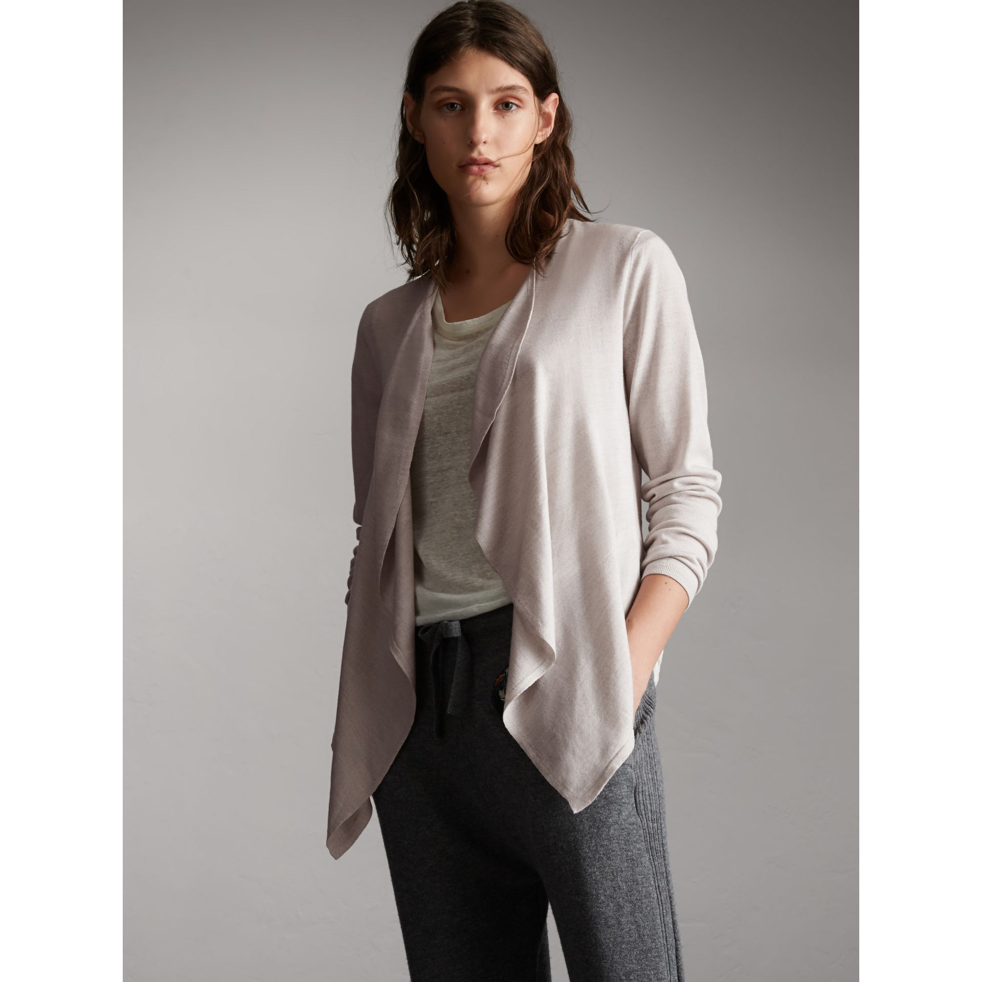 Merino Wool Silk Open Cardigan in Light Grey Melange - Women | Burberry - gallery image 1
