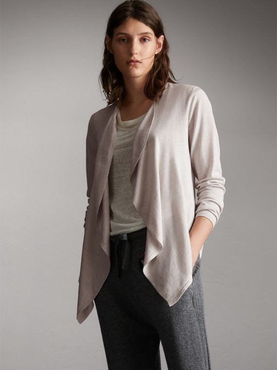 Merino Wool Silk Open Cardigan in Light Grey Melange