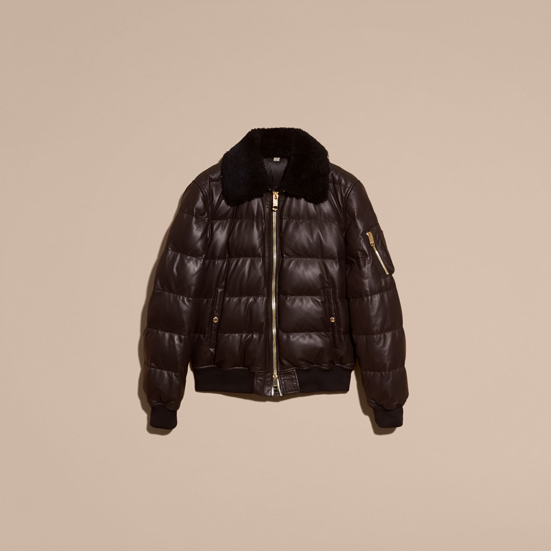 Chocolate brown Down-filled Lambskin Bomber Jacket with Shearling Collar - gallery image 4