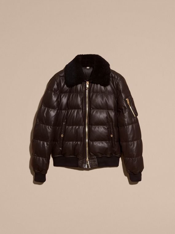 Chocolate brown Down-filled Lambskin Bomber Jacket with Shearling Collar - cell image 3