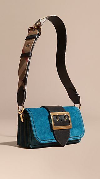 The Buckle Bag in Suede with Topstitching Peacock Blue /black