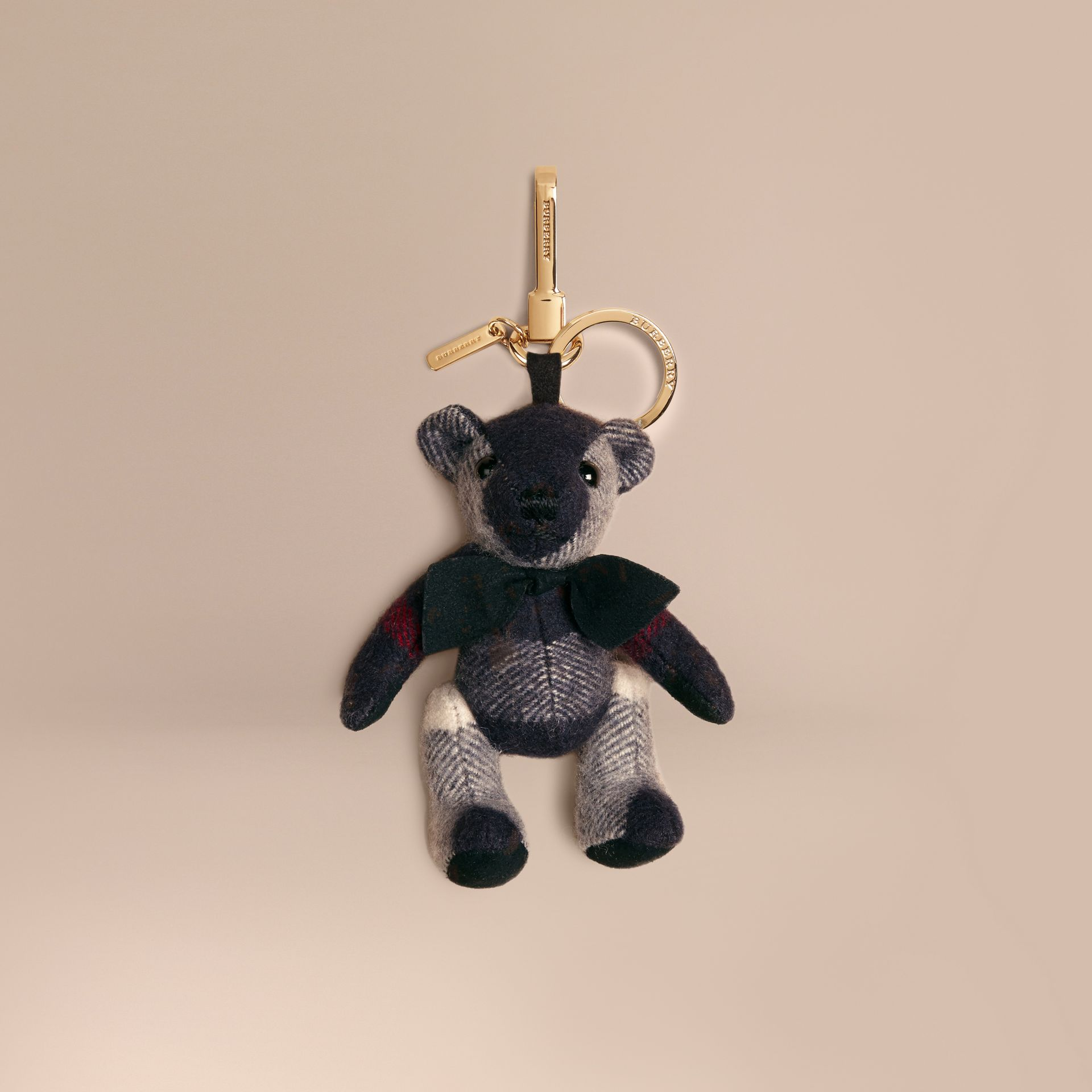 Navy Thomas Bear Charm in Check Cashmere Navy - gallery image 1
