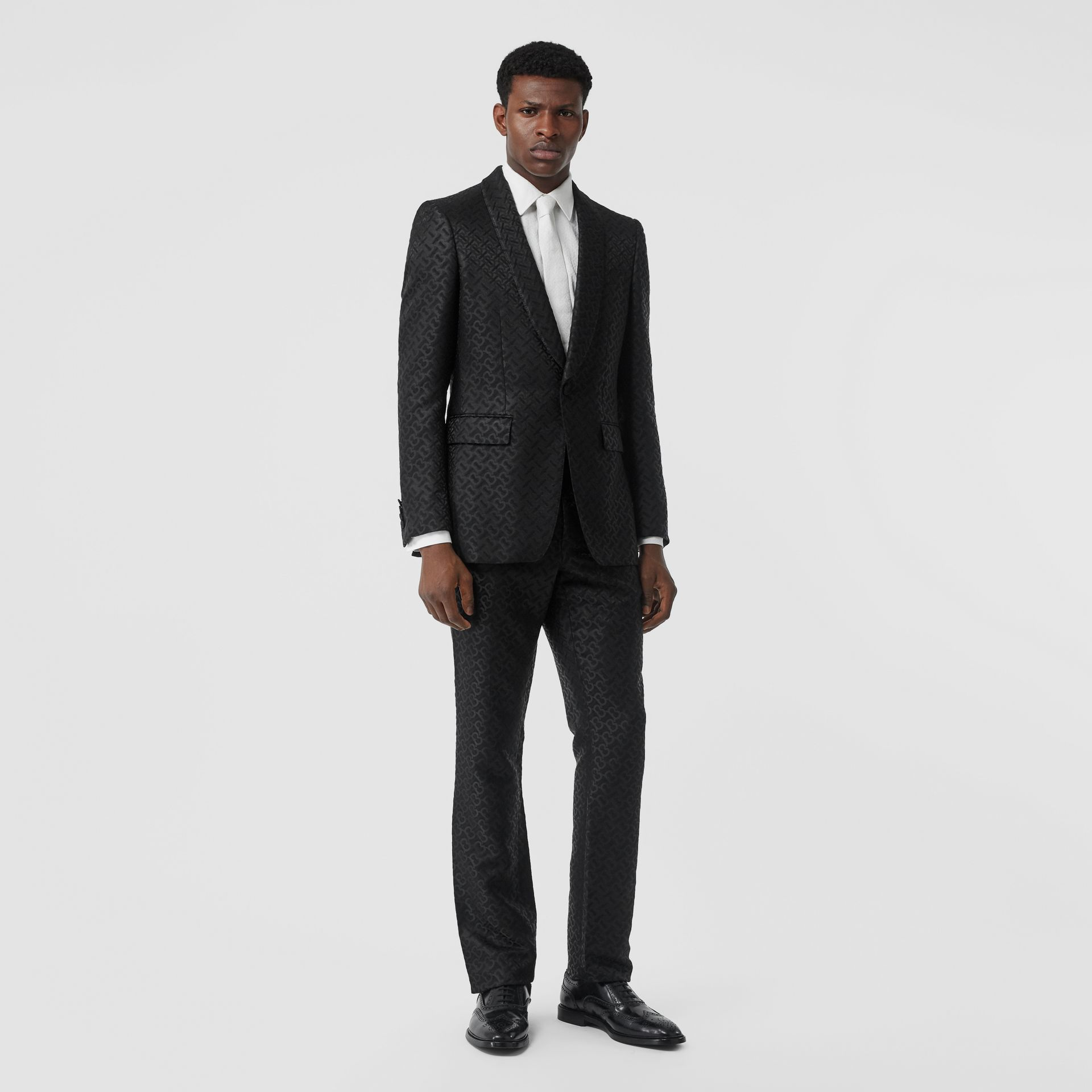 English Fit Monogram Wool Blend Jacquard Tuxedo in Black - Men | Burberry - gallery image 0