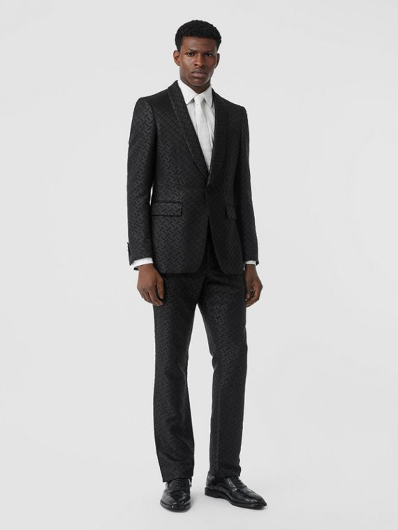 English Fit Monogram Wool Blend Jacquard Tuxedo in Black