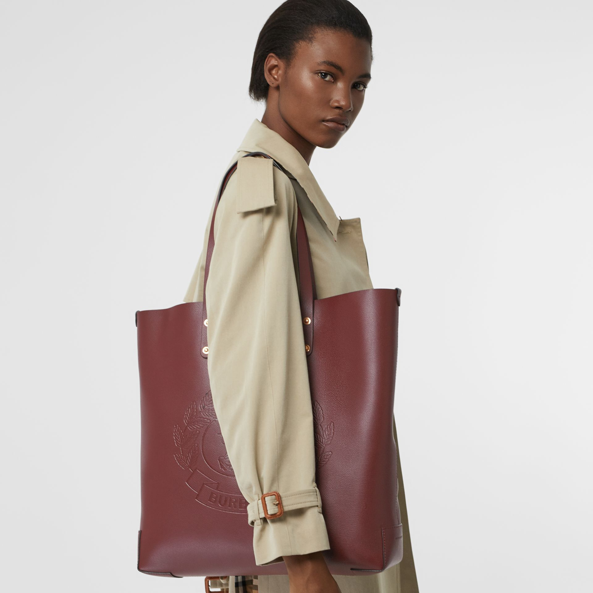Large Embossed Crest Leather Tote in Burgundy | Burberry Australia - gallery image 3