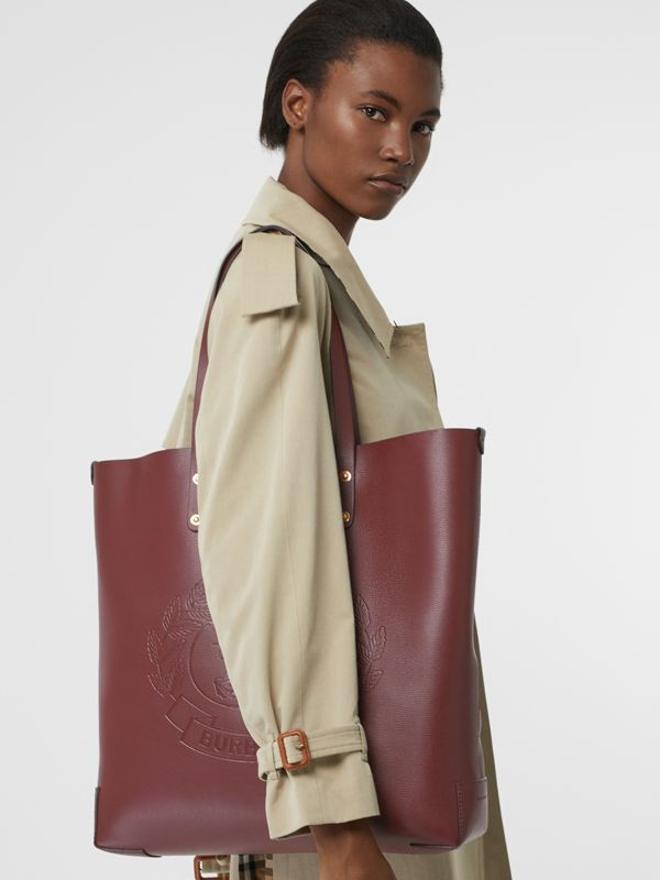 Large Embossed Crest Leather Tote in Burgundy | Burberry Australia - cell image 3