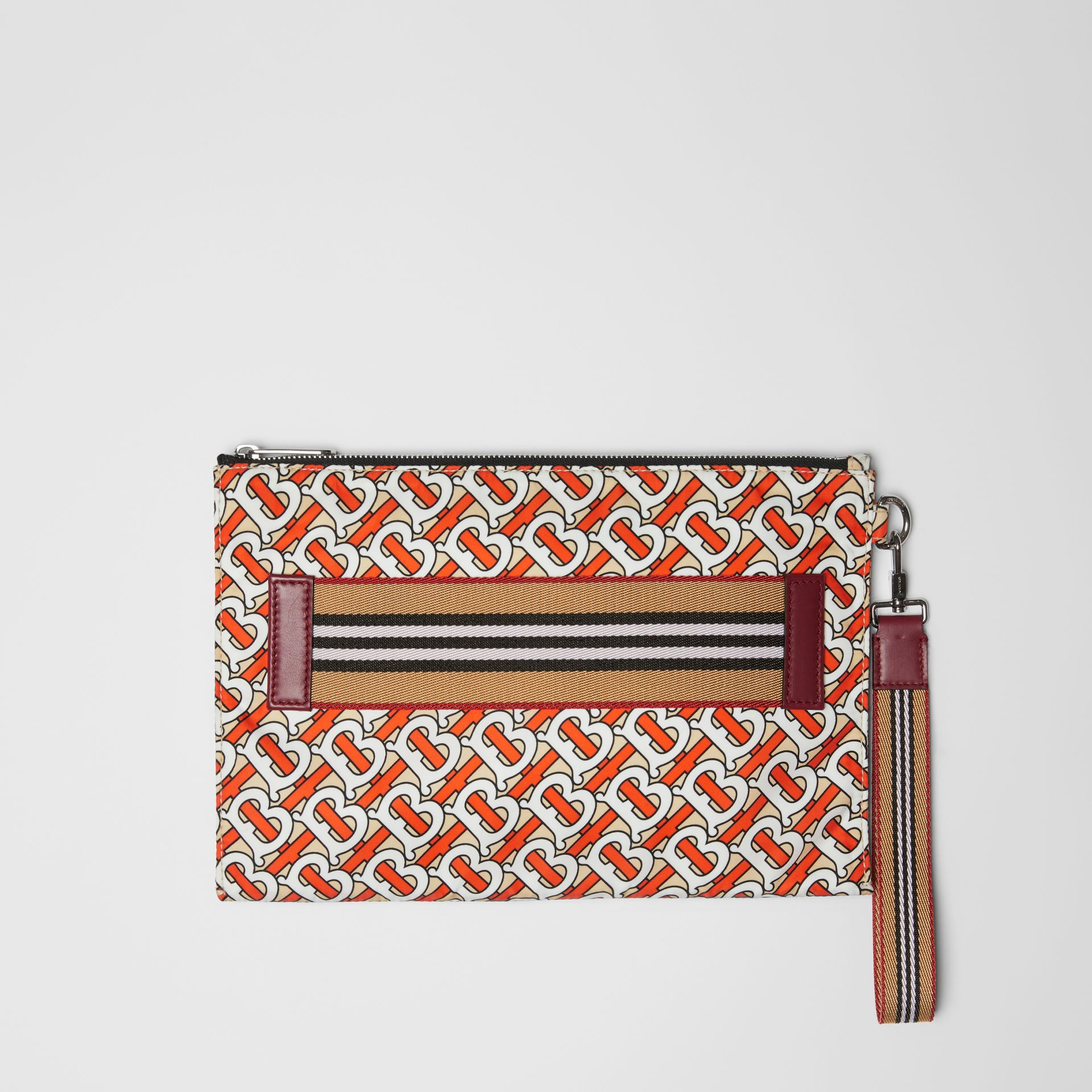 Monogram Print Zip Pouch in Vermilion | Burberry Singapore - gallery image 0