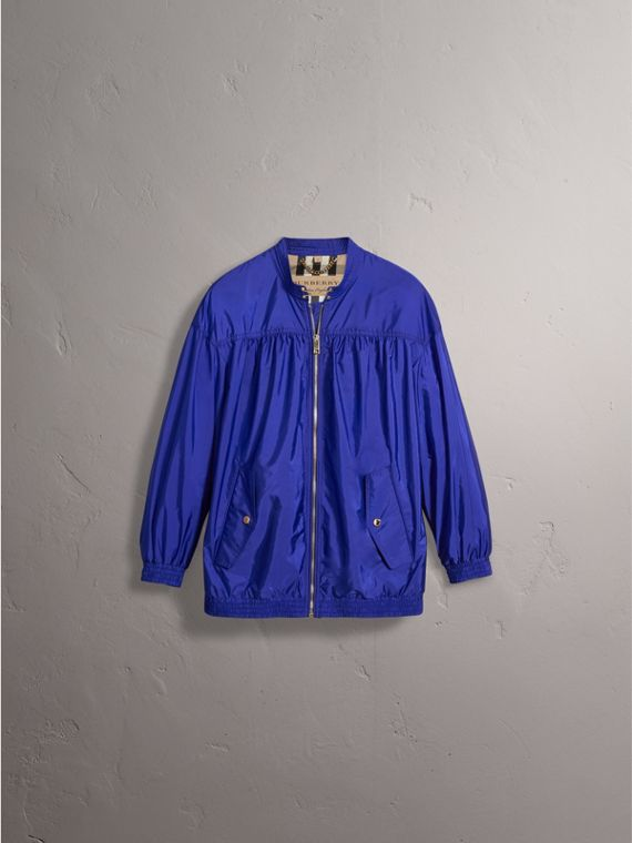 Ruched Showerproof Jacket in Sapphire Blue - Women | Burberry - cell image 3