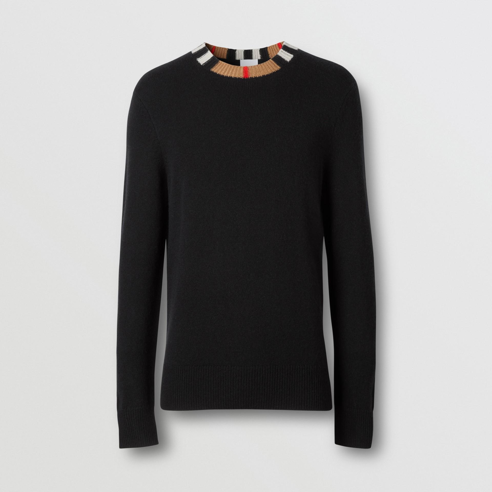 Jersey en cachemir con detalle a rayas Icon Stripe (Negro) - Hombre | Burberry - imagen de la galería 3