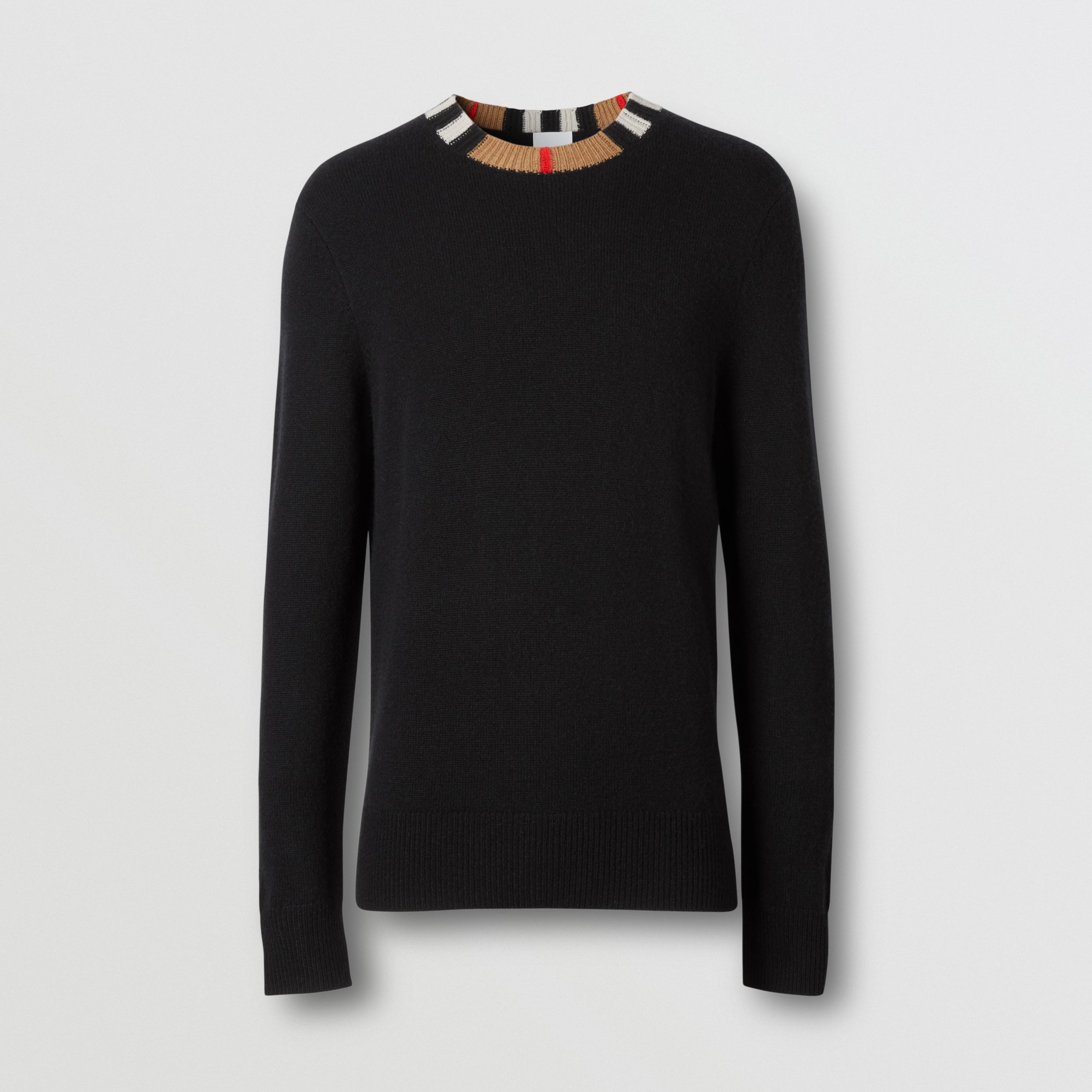 Icon Stripe Trim Cashmere Sweater in Black - Men | Burberry - 4