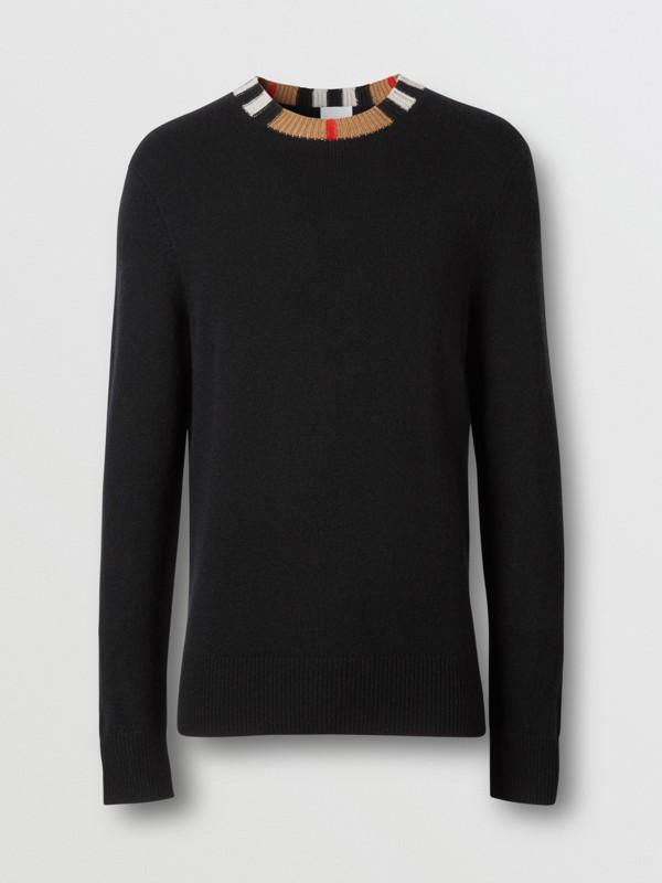 Icon Stripe Trim Cashmere Sweater in Black - Men | Burberry - cell image 3
