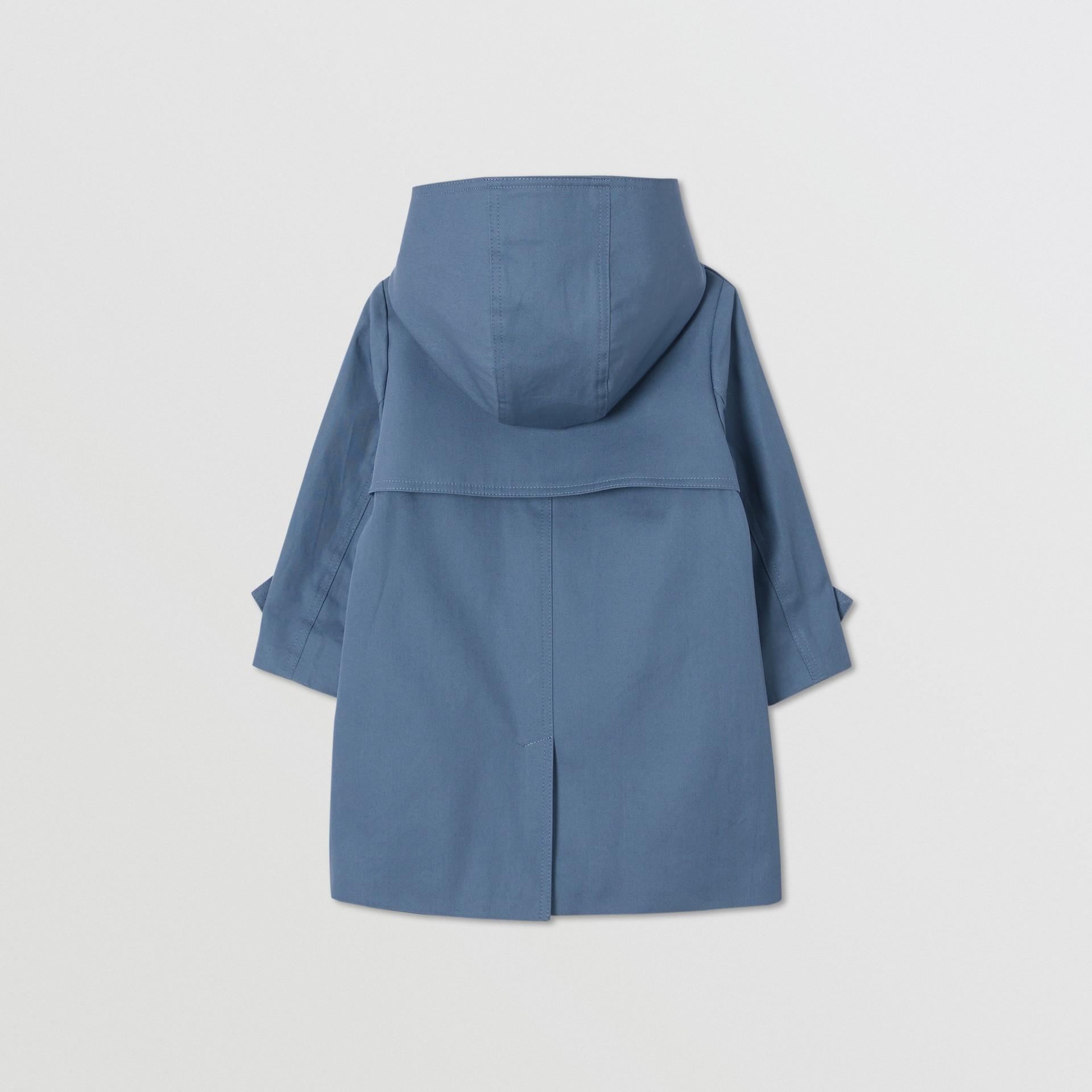 Detachable Hood Cotton Twill Car Coat in Steel Blue - Children | Burberry - gallery image 3