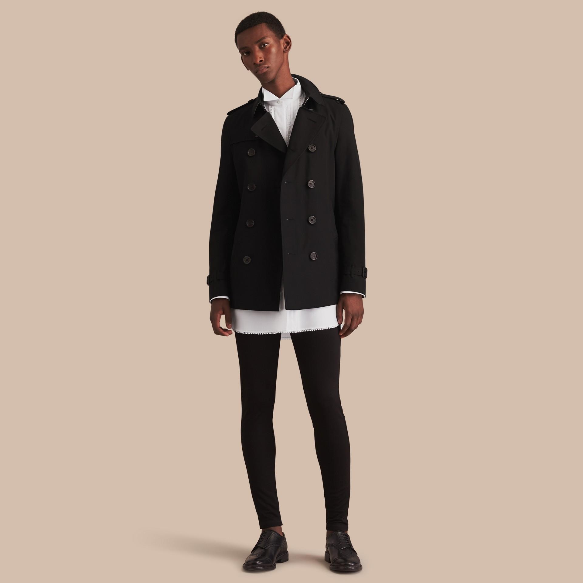 Negro Trench coat Chelsea – Trench coat Heritage corto Negro - imagen de la galería 1