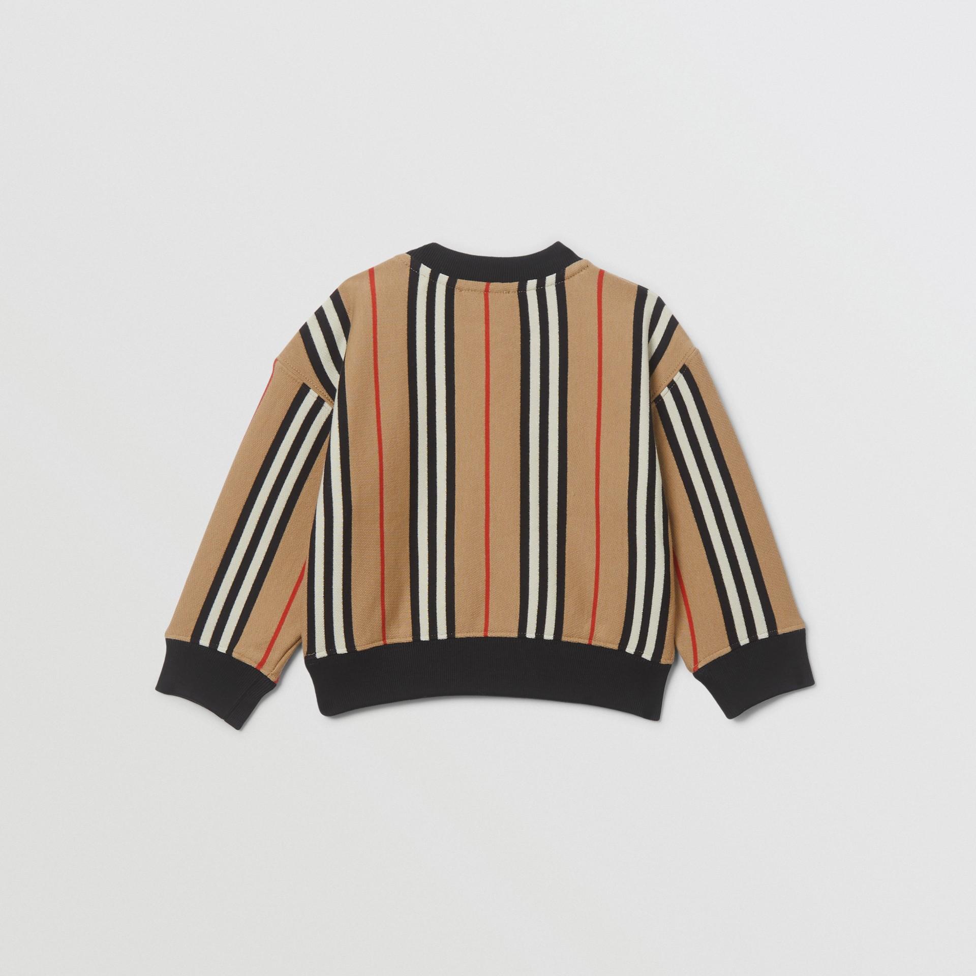 Icon Stripe Cotton Sweatshirt in Archive Beige - Children | Burberry United Kingdom - gallery image 3
