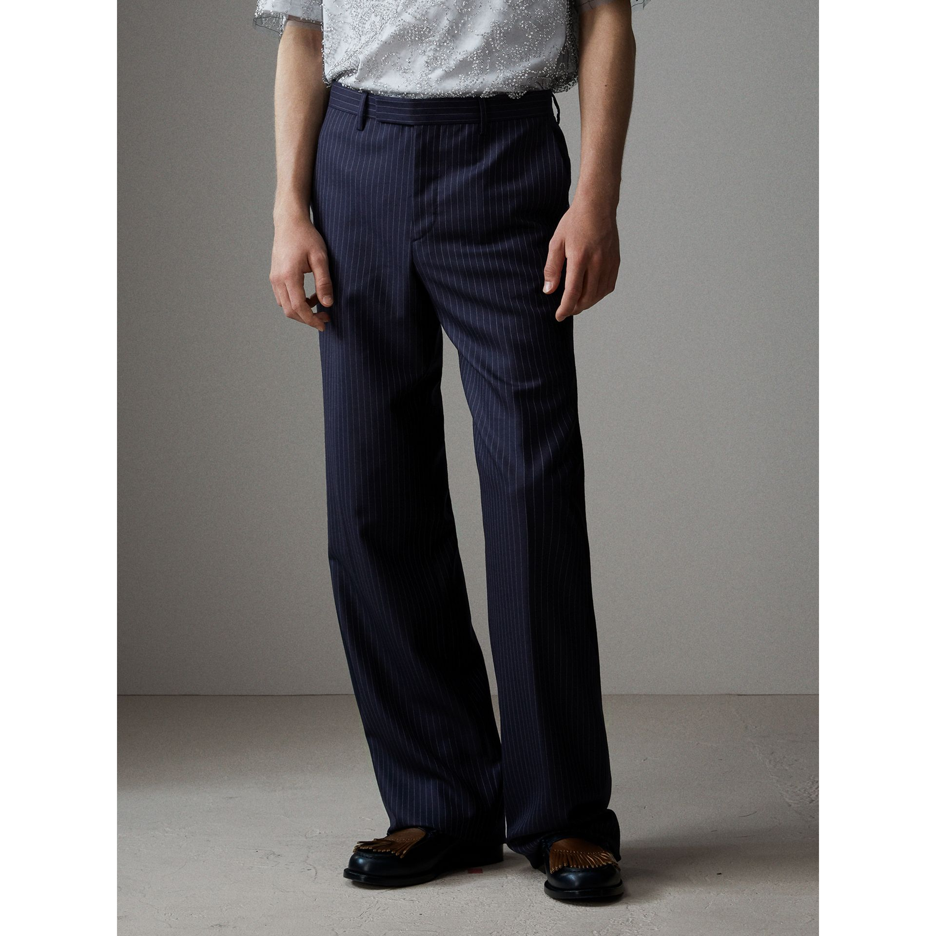 English Pinstripe Wool Wide-leg Trousers in Navy/white - Men | Burberry Australia - gallery image 6
