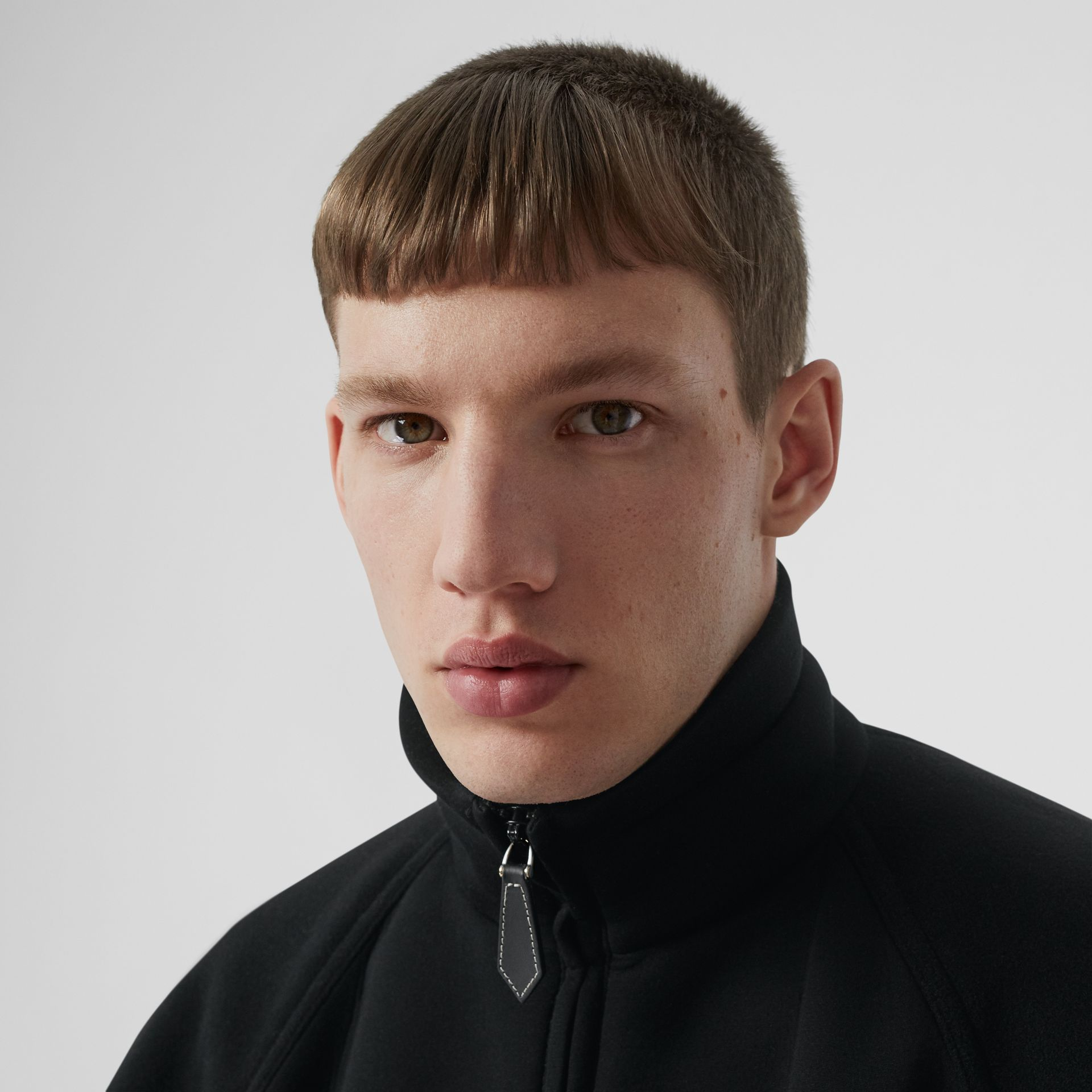 Logo Graphic Neoprene Funnel Neck Track Top in Black - Men | Burberry - gallery image 5