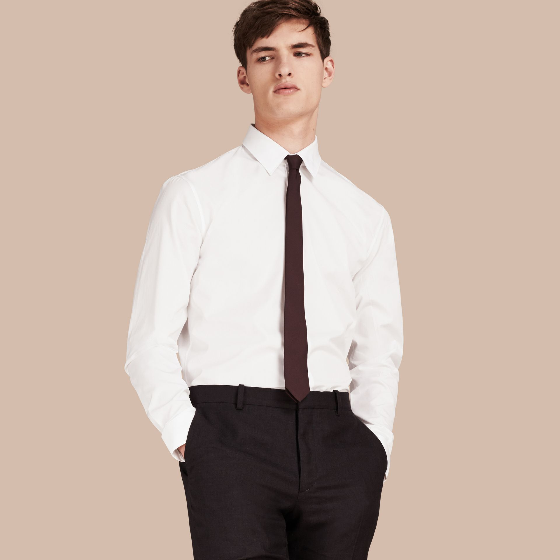 Modern Fit Cotton Poplin Shirt in White - Men | Burberry Singapore - gallery image 1