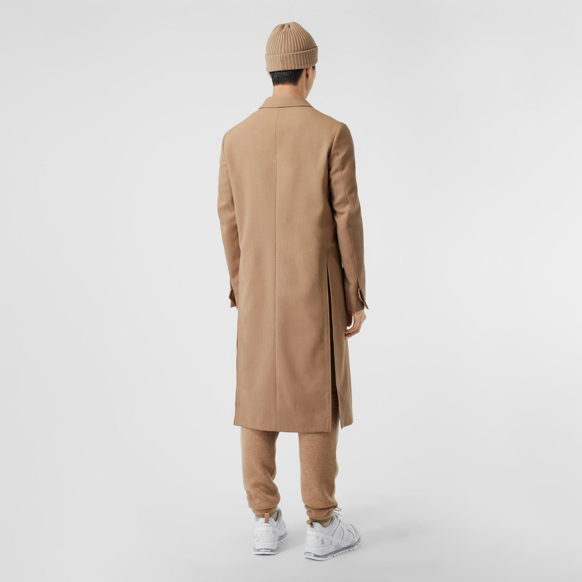 Logo Embroidered Wool Coat in Camel - Men | Burberry Singapore - gallery image 1
