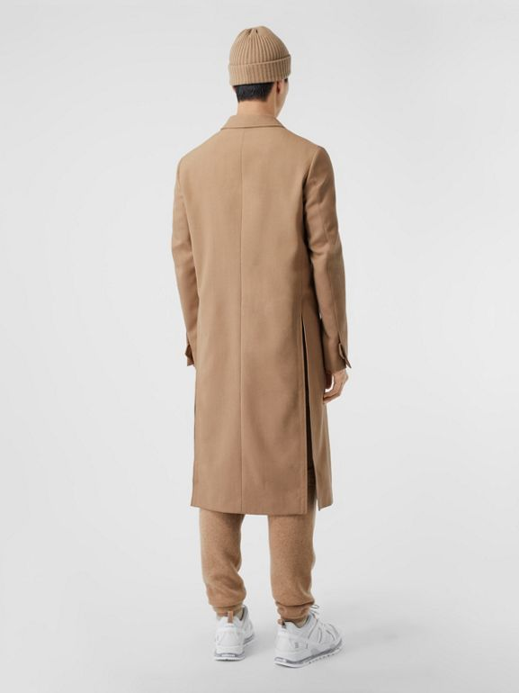 Logo Embroidered Wool Coat in Camel - Men | Burberry Singapore - cell image 1