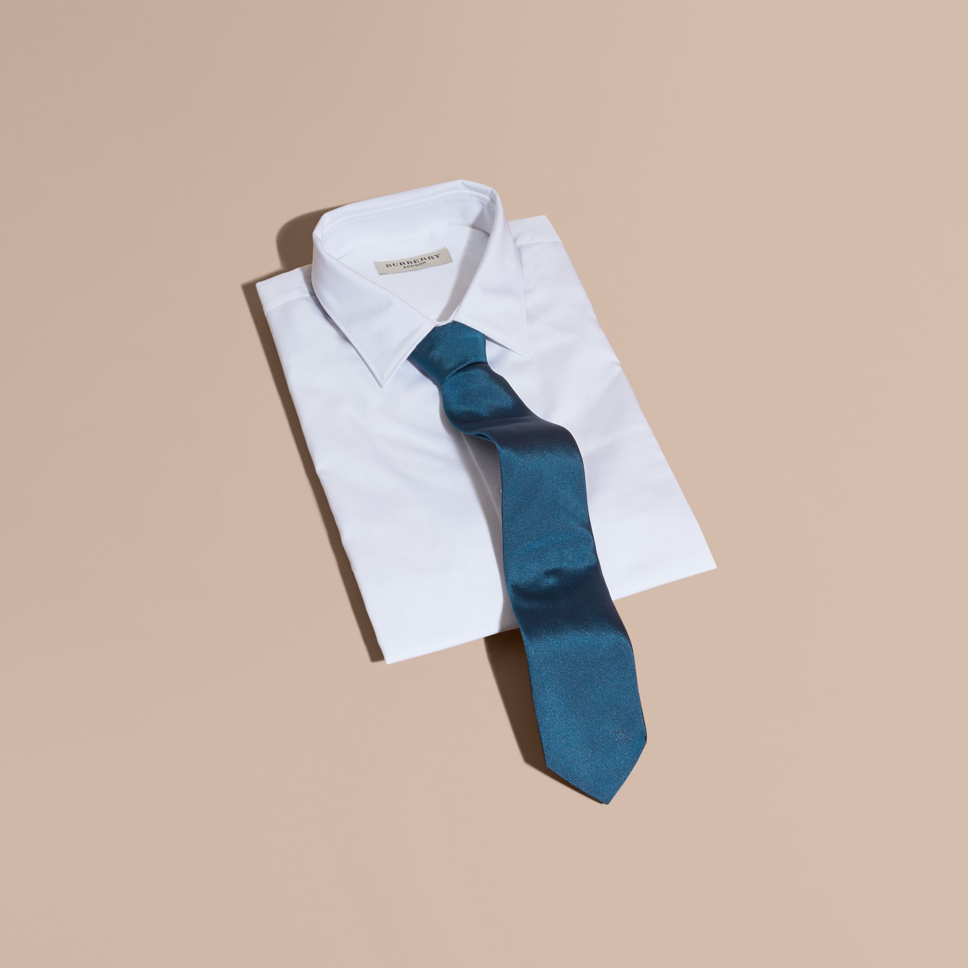 Modern Cut Silk Twill Tie in Bright Blue - gallery image 4